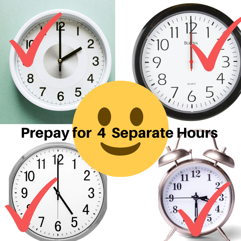 Prepay for 4 Separate Hours to be used as desired https://padraigking.as.me/240