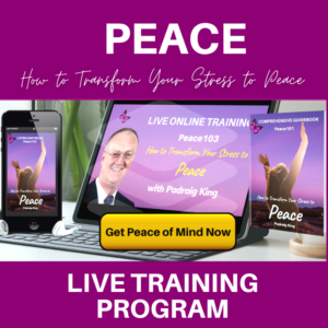 Stresed, Worried or Anxious? Transform your stress to peace with Padraig King's Live Online Training Program. Full details at king.ie/peac-101
